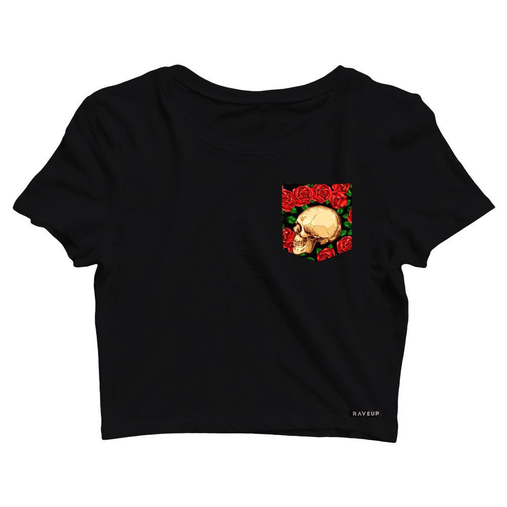 Cropped com Bolso Floral Skull