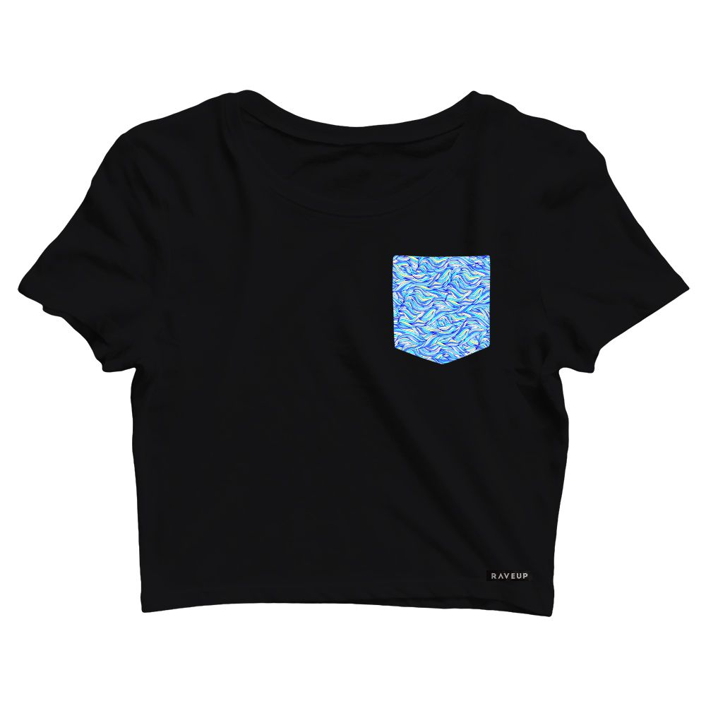 Cropped com Bolso Abstract Lines Blue