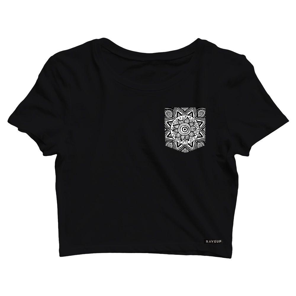 Cropped com Bolso Black Flower