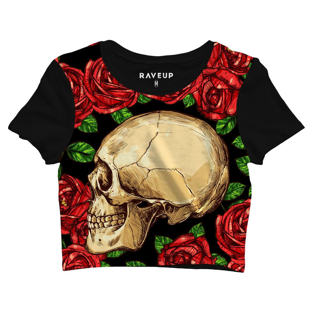 Cropped Floral Skull
