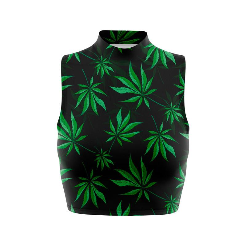 Cropped Regata Gola Alta Cannabis Folha Maconha