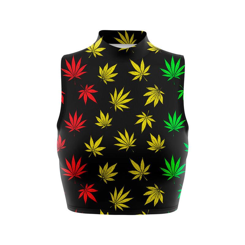 Cropped Regata Gola Alta Cannabis Maconha Reggae