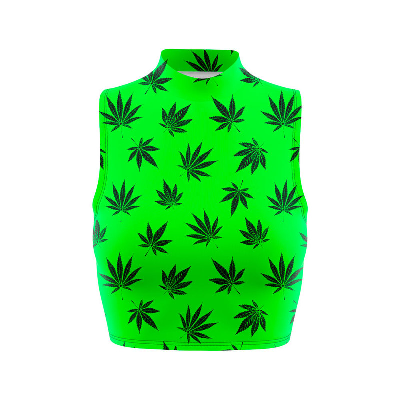 Cropped Regata Gola Alta Cannabis Maconha Verde