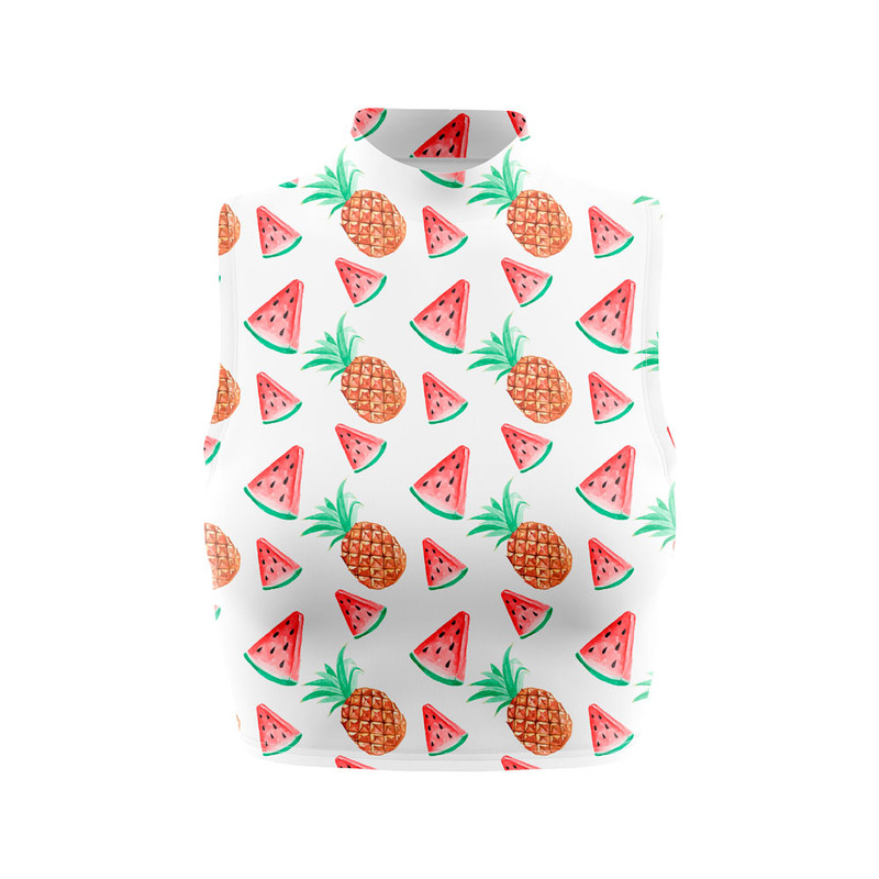 Cropped Regata Gola Alta Frutas Tropicais