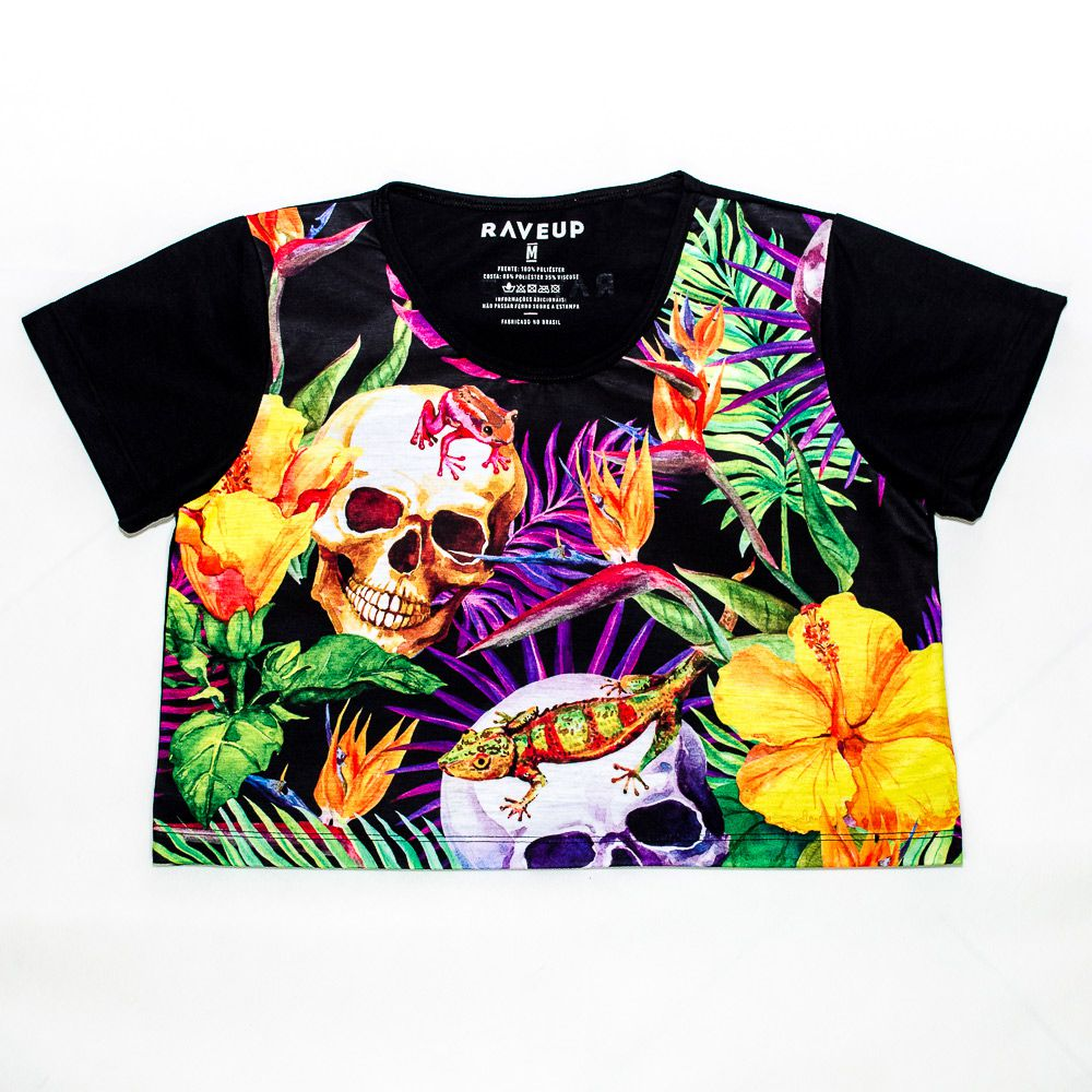 Cropped Tropical Skull Psicodélico