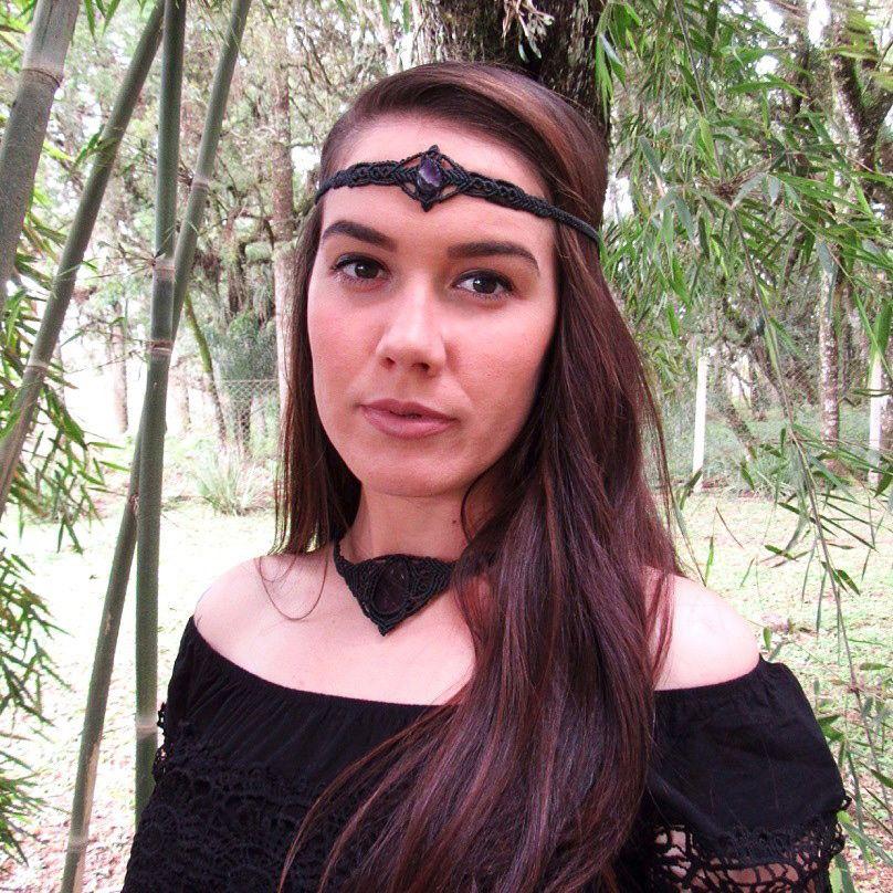 Headband em Macramê Ametista