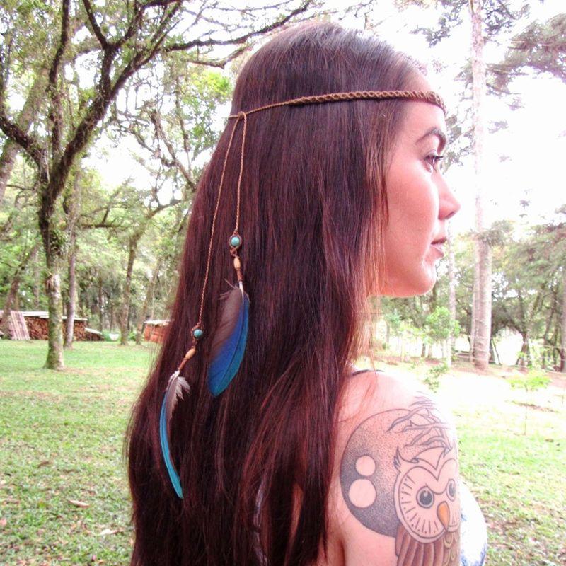 Headband em Macramê Turquesa