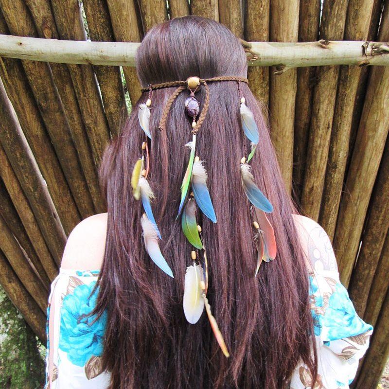 Headband Penas Naturais Ametista