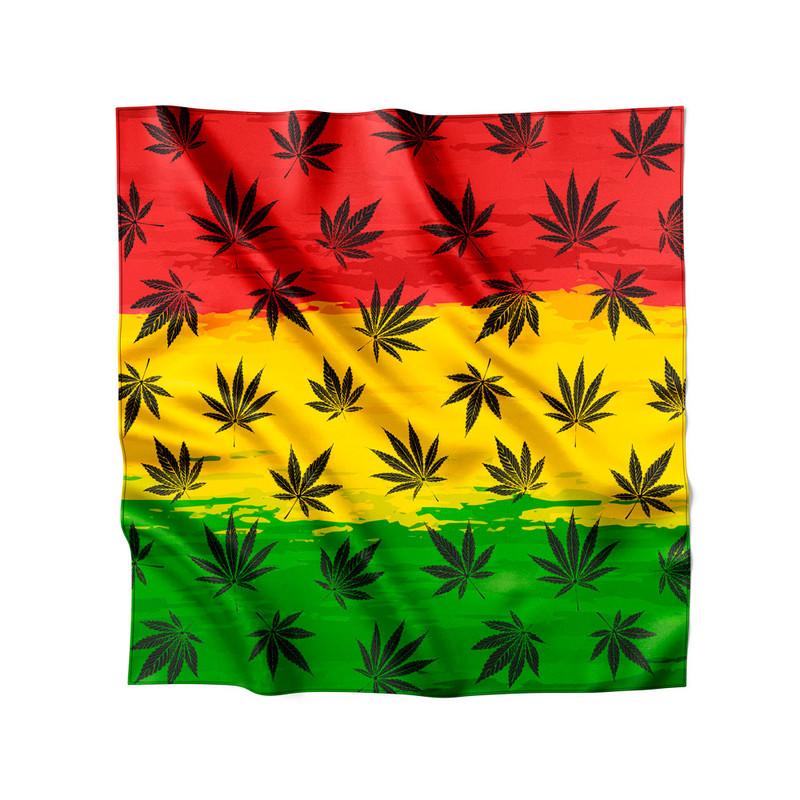 Lenço de Cetim Feminino Cannabis Arte Reggae