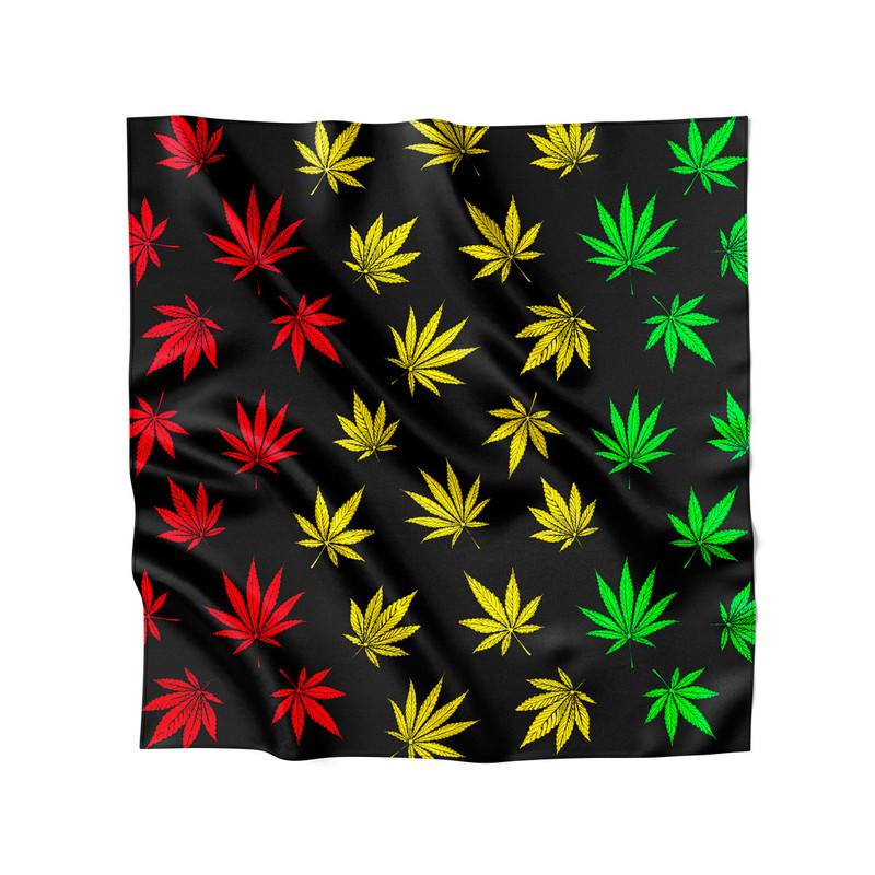 Lenço de Cetim Feminino Cannabis Maconha Reggae