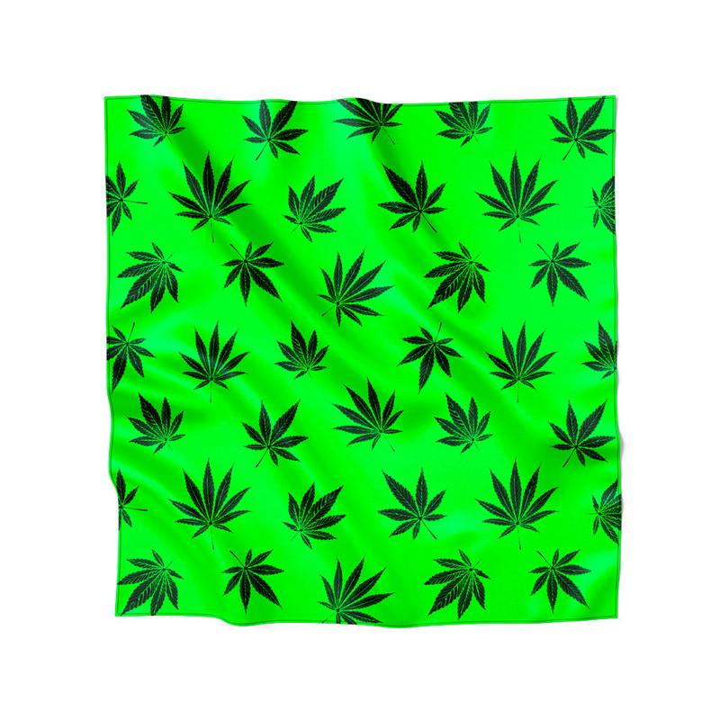 Lenço de Cetim Feminino Cannabis Maconha Verde
