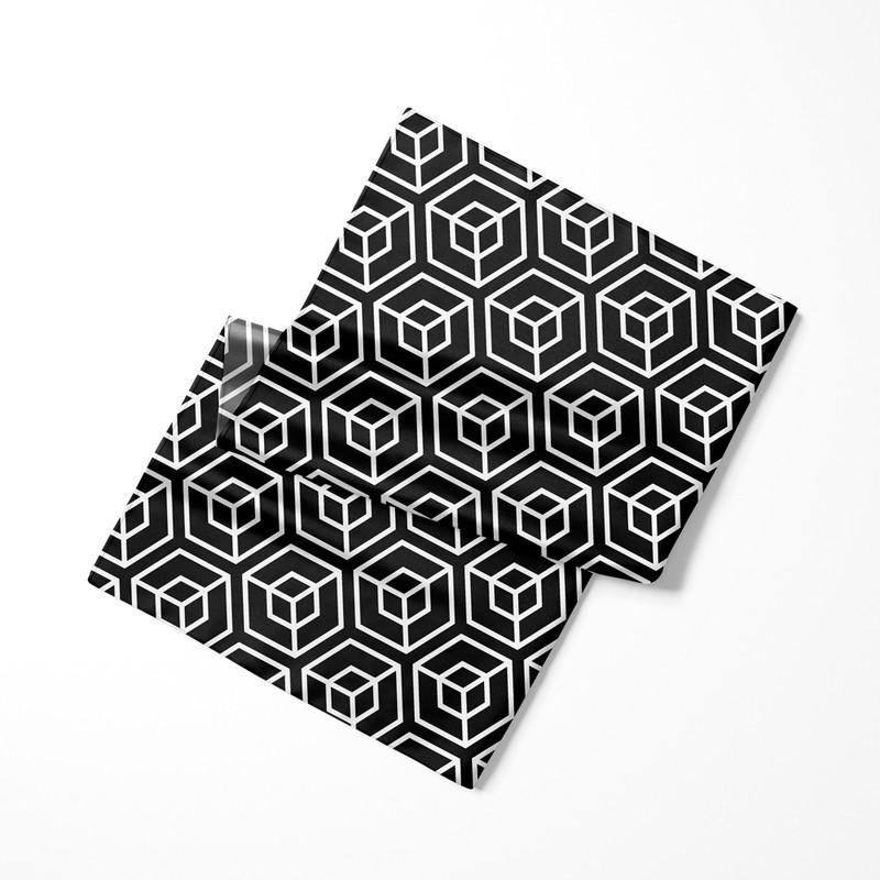 Lenço de Cetim Feminino Cubo Geométrico