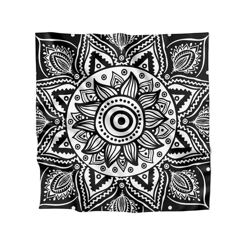 Lenço de Cetim Feminino Flor Nativa Mandala