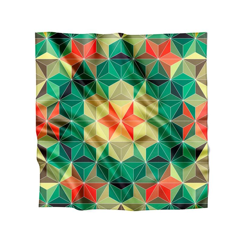 Lenço de Cetim Feminino Geometrica Verde