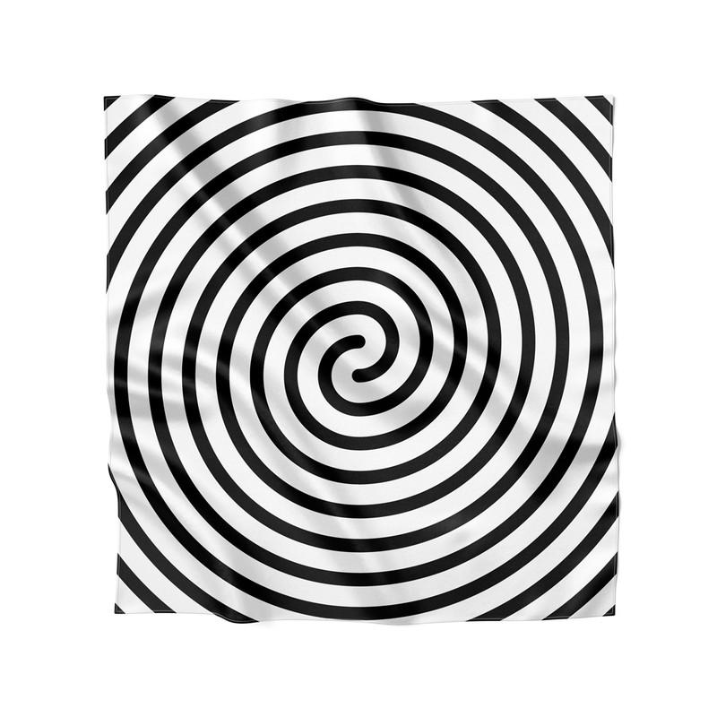 Lenço de Cetim Feminino Linhas Espiral