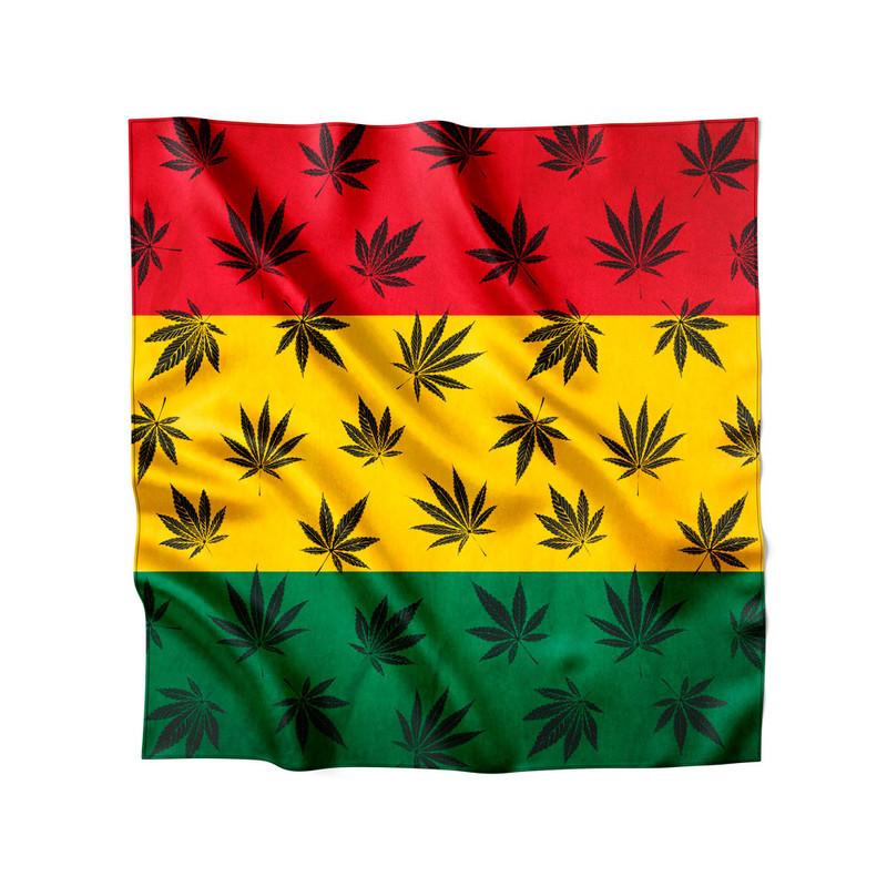 Lenço de Cetim Feminino Maconha Bandeira Reggae