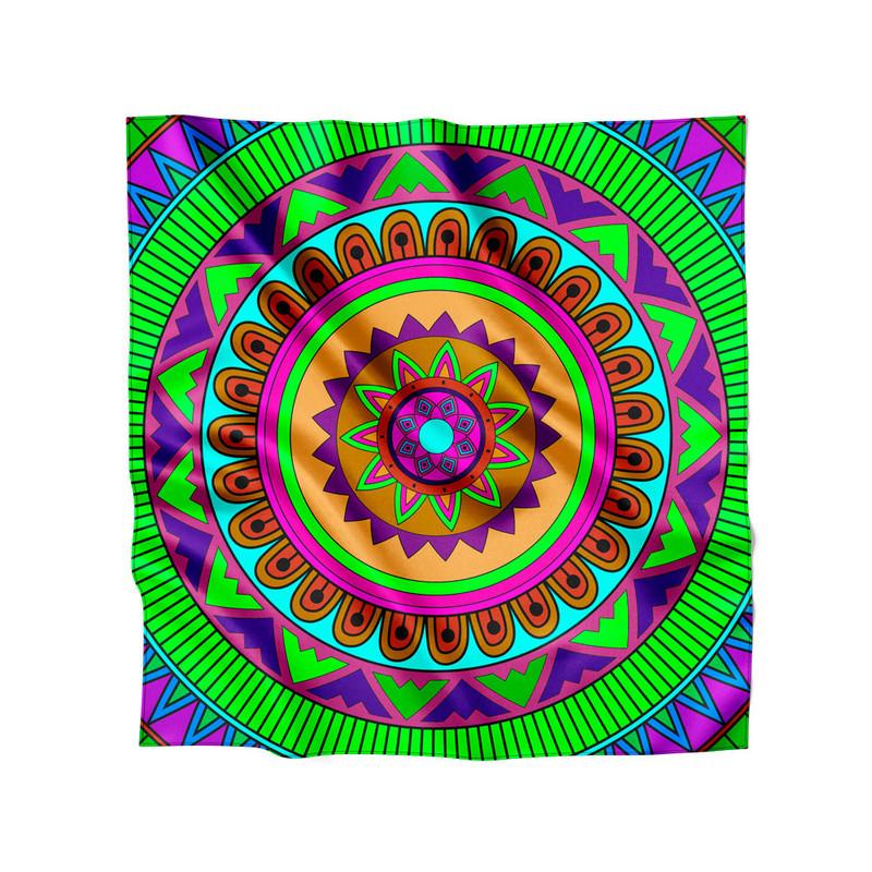 Lenço de Cetim Feminino Mandala Colorida