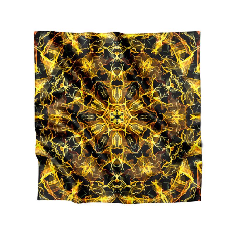 Lenço de Cetim Feminino Mandala Energia Amarela