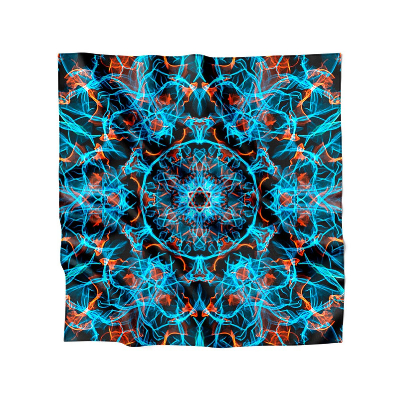 Lenço de Cetim Feminino Mandala Energia Azul