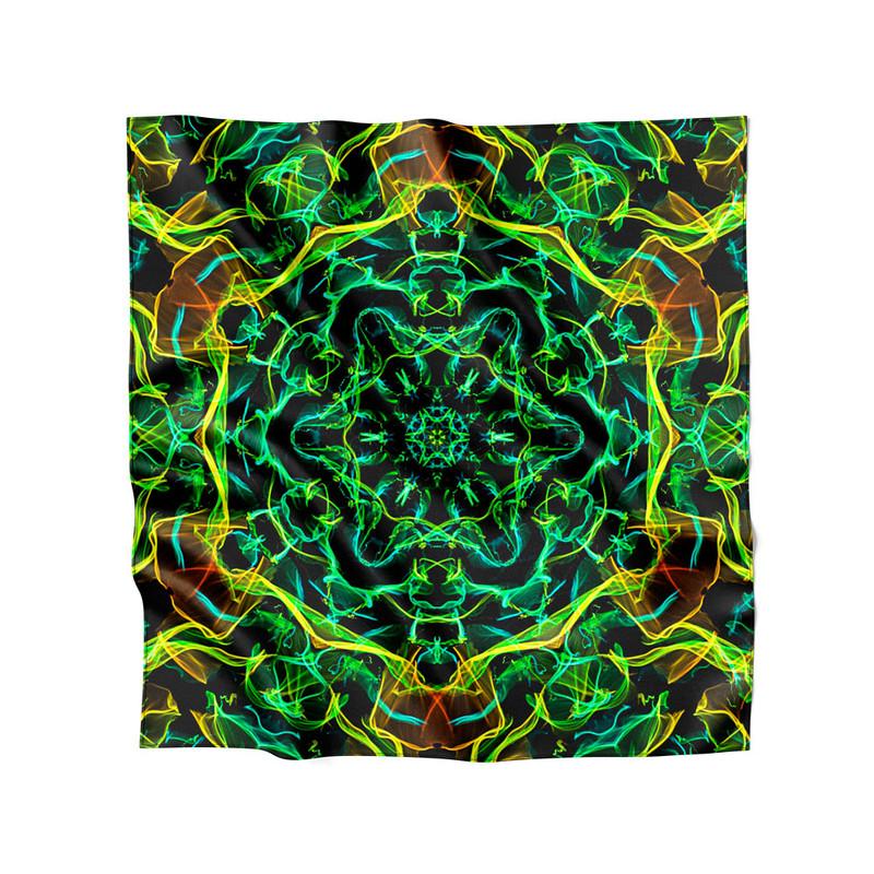 Lenço de Cetim Feminino Mandala Energia Verde