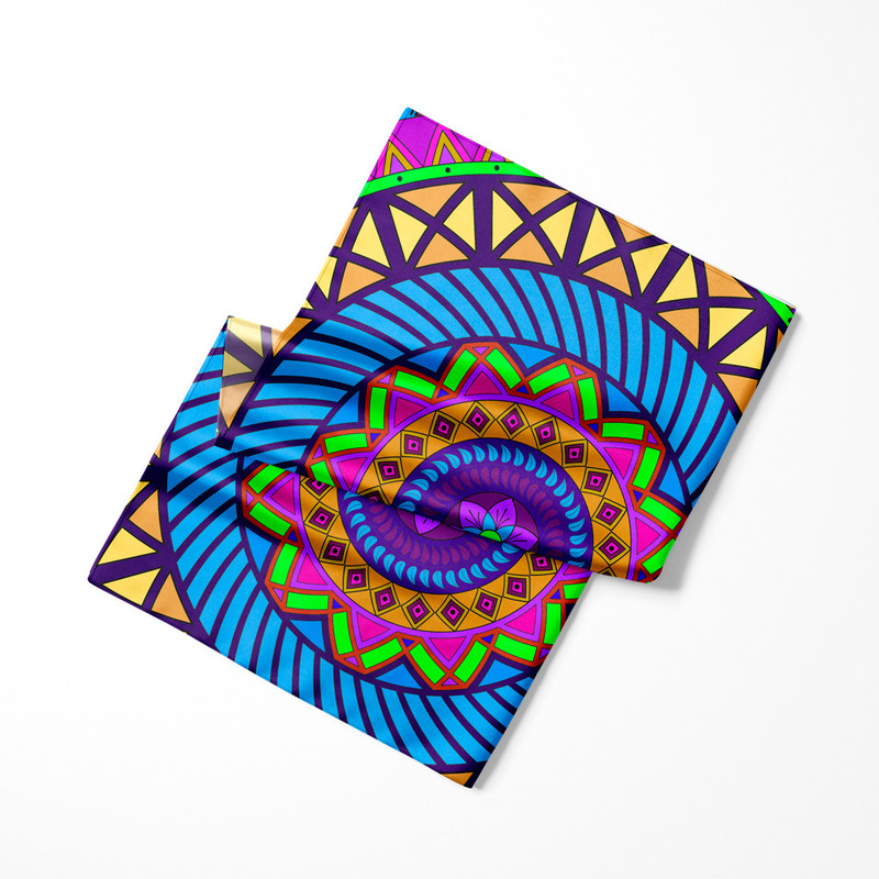 Lenço de Cetim Feminino Mandala Folha Roxa