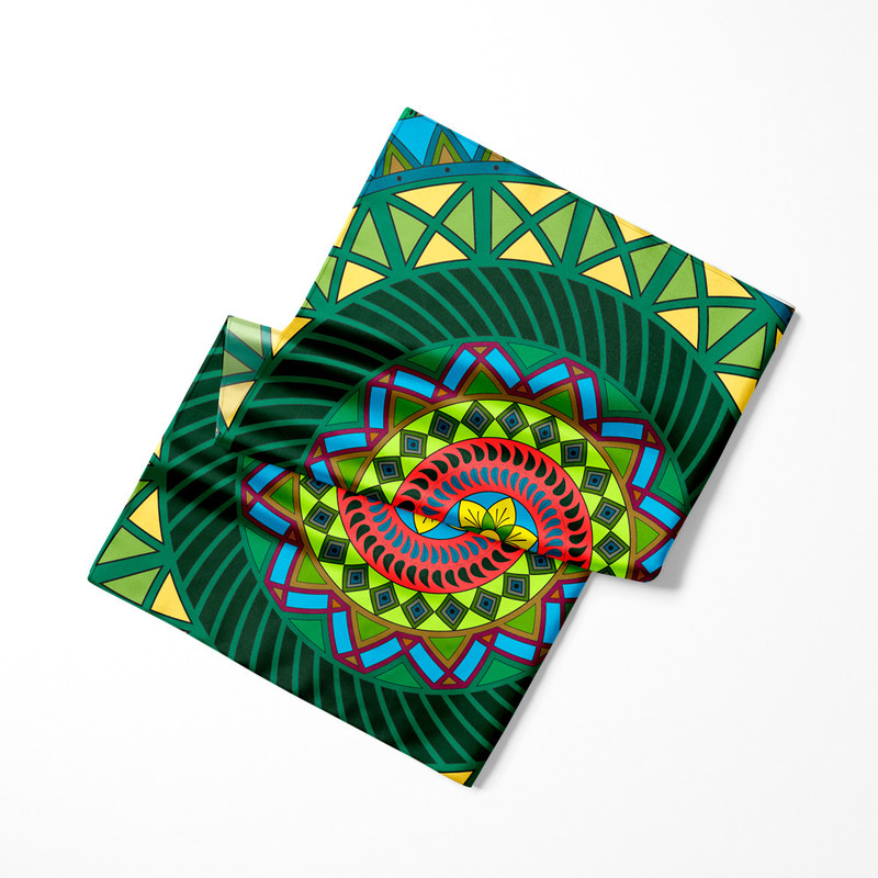 Lenço de Cetim Feminino Mandala Folha Verde