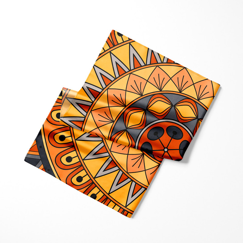 Lenço de Cetim Feminino Mandala Nativa Amarela