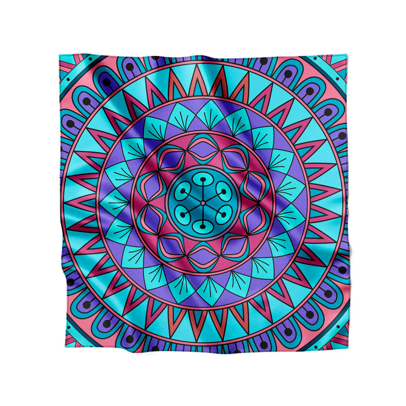 Lenço de Cetim Feminino Mandala Nativa Azul