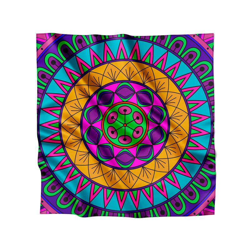 Lenço de Cetim Feminino Mandala Nativa Colorida