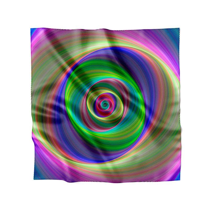 Lenço de Cetim Feminino Portal Psicodélico Laser