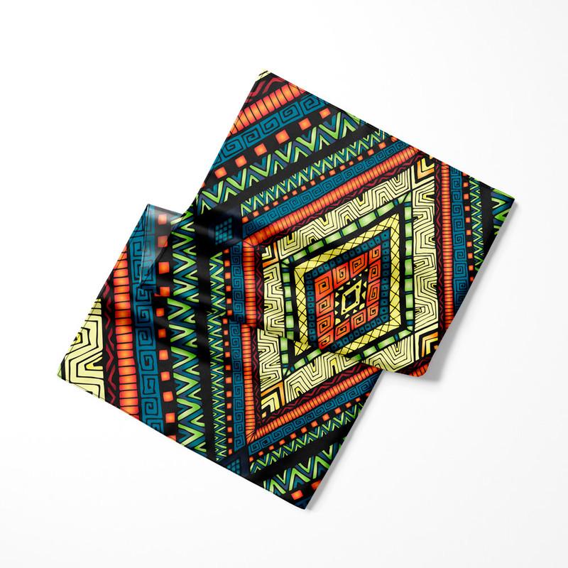 Lenço de Cetim Feminino Tribal Geométrico