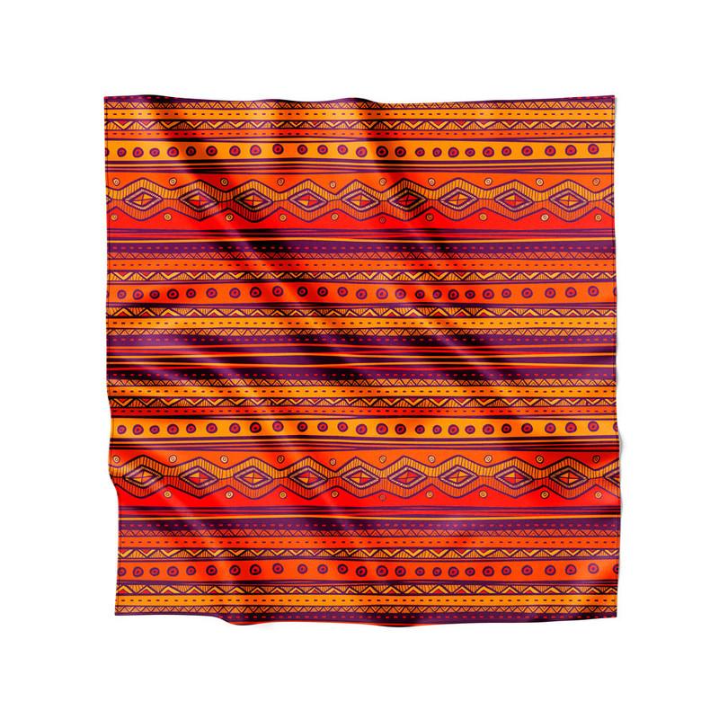 Lenço de Cetim Feminino Tribal Nativa Fogo