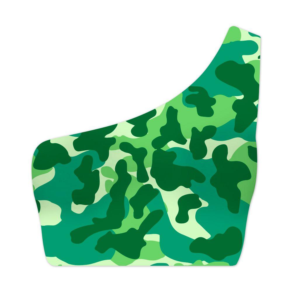 Top Um Ombro Só Camuflado Verde