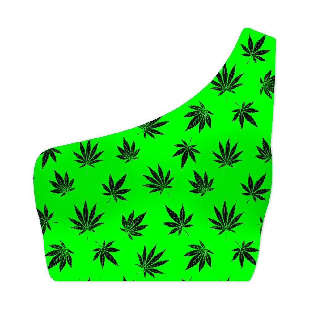 Top Um Ombro Só Cannabis Green