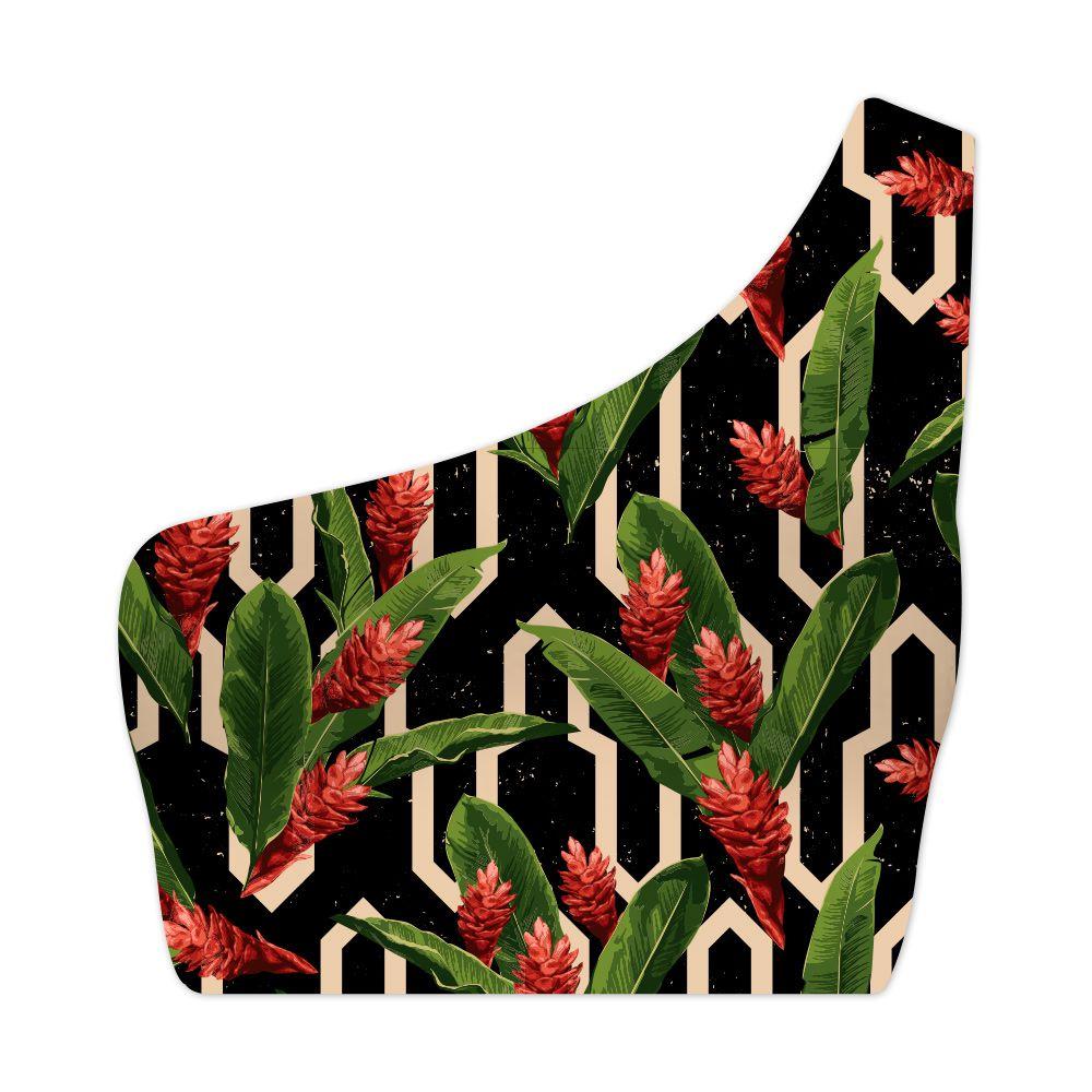 Top Um Ombro Só Geometric Flower