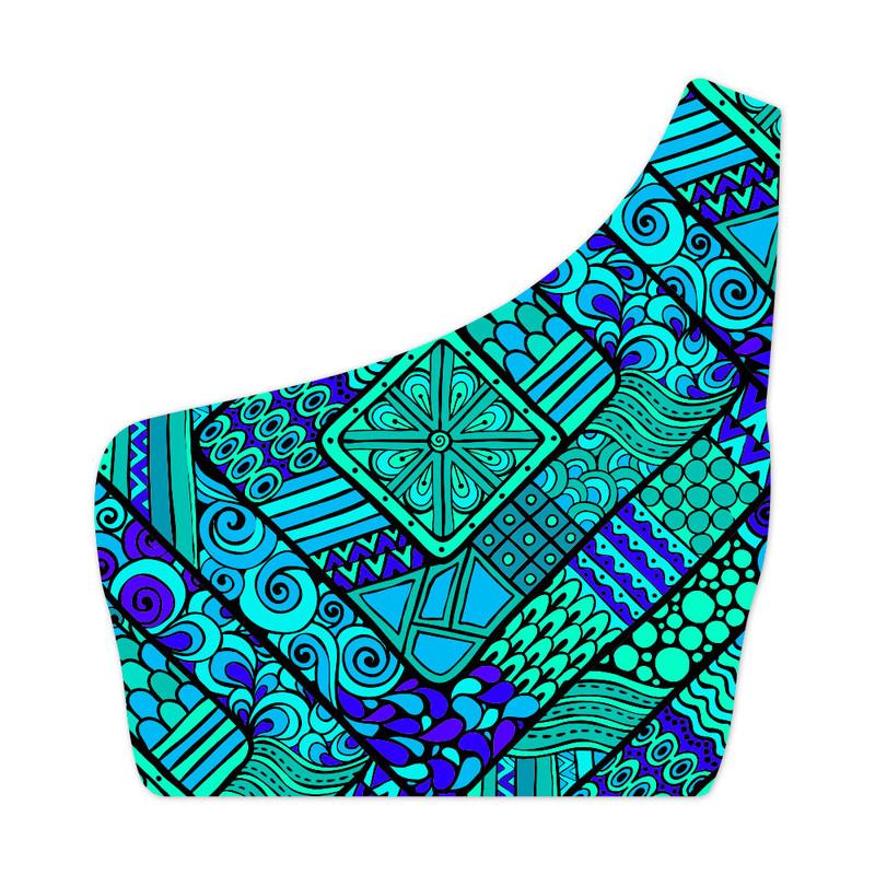 Top Um Ombro Só Nativa Azul