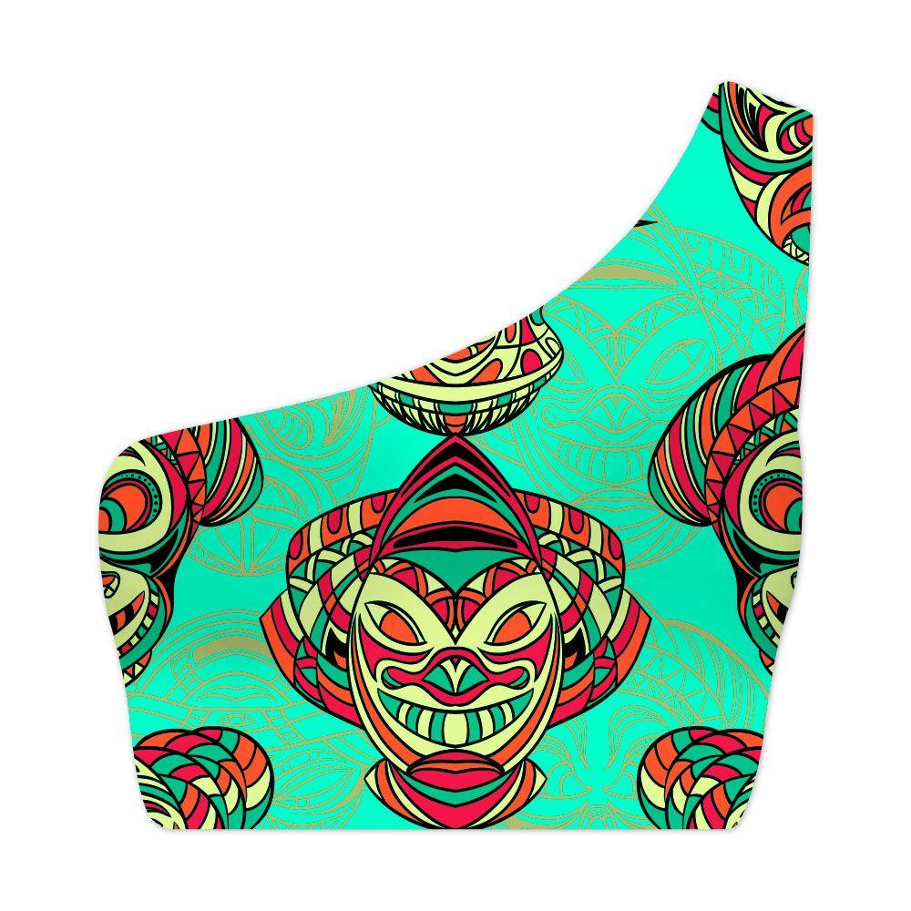 Top Um Ombro Só Psicodélico Aztec Masks
