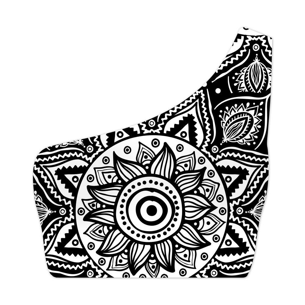 Top Um Ombro Só Psicodélico Black Flower