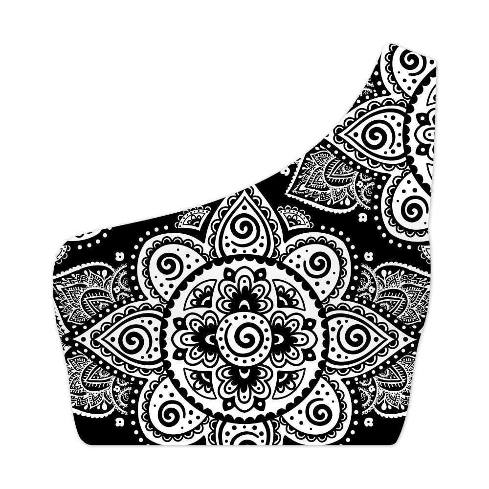 Top Um Ombro Só Psicodélico Black Mandala