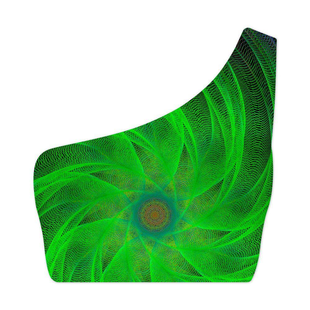 Top Um Ombro Só Psicodélico Green Spiral