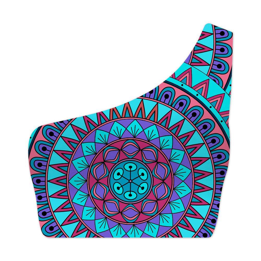 Top Um Ombro Só Psicodélico Mandala Blue