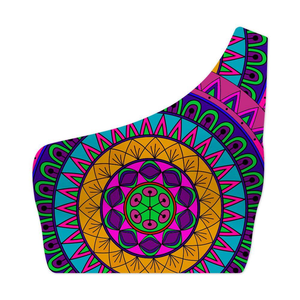 Top Um Ombro Só Psicodélico Mandala Colors