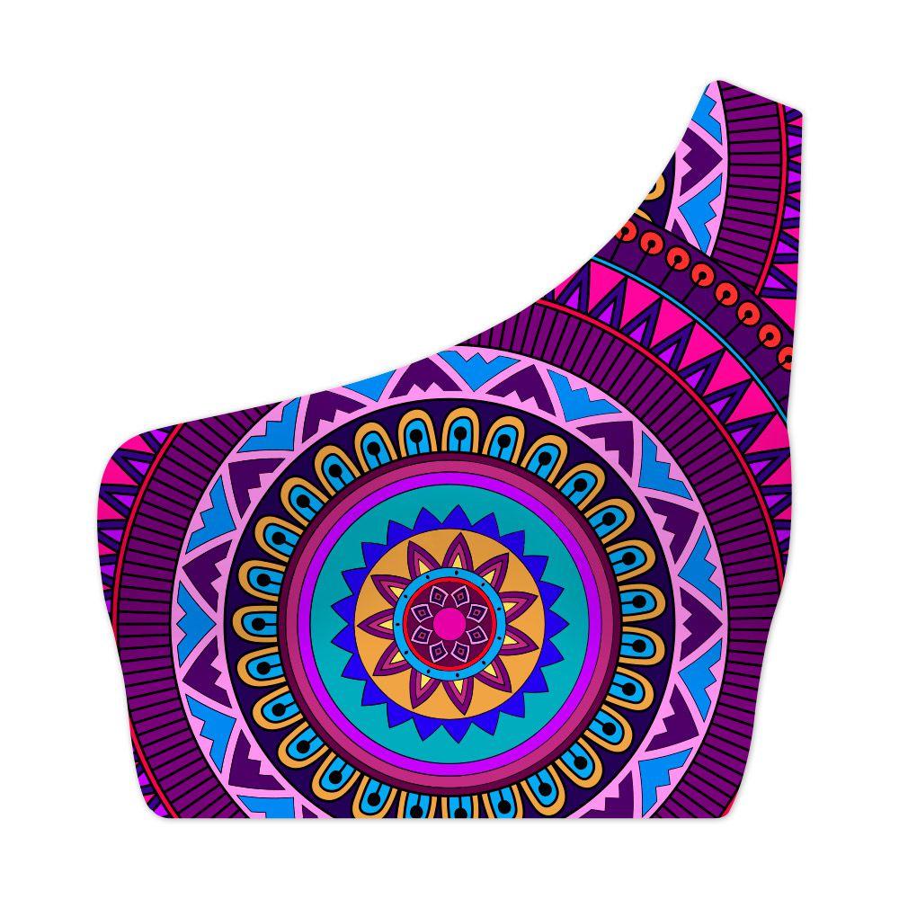 Top Um Ombro Só Psicodélico Mandala Purple