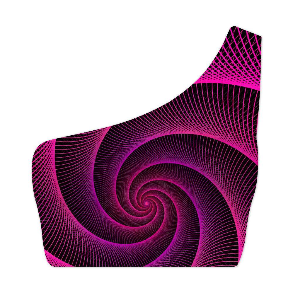 Top Um Ombro Só Pink Spiral