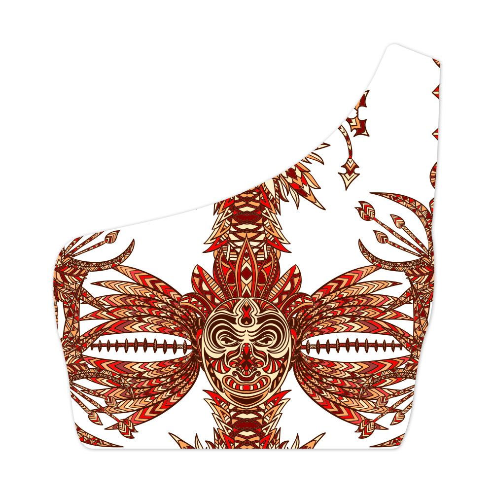Top Um Ombro Só Psicodélico Tribal Masks