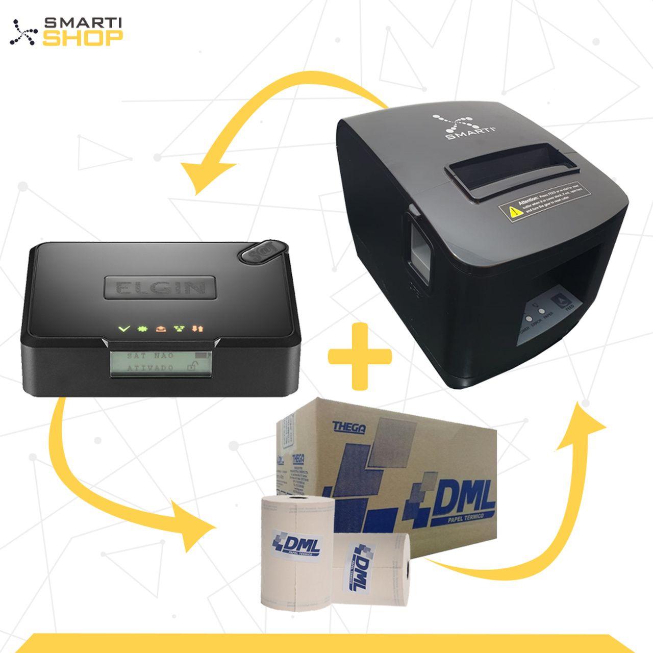 Combo Impressora Térmica XP SMARTI + SAT Elgin Smart  + 1 caixa de bobinas DML 30 unidades