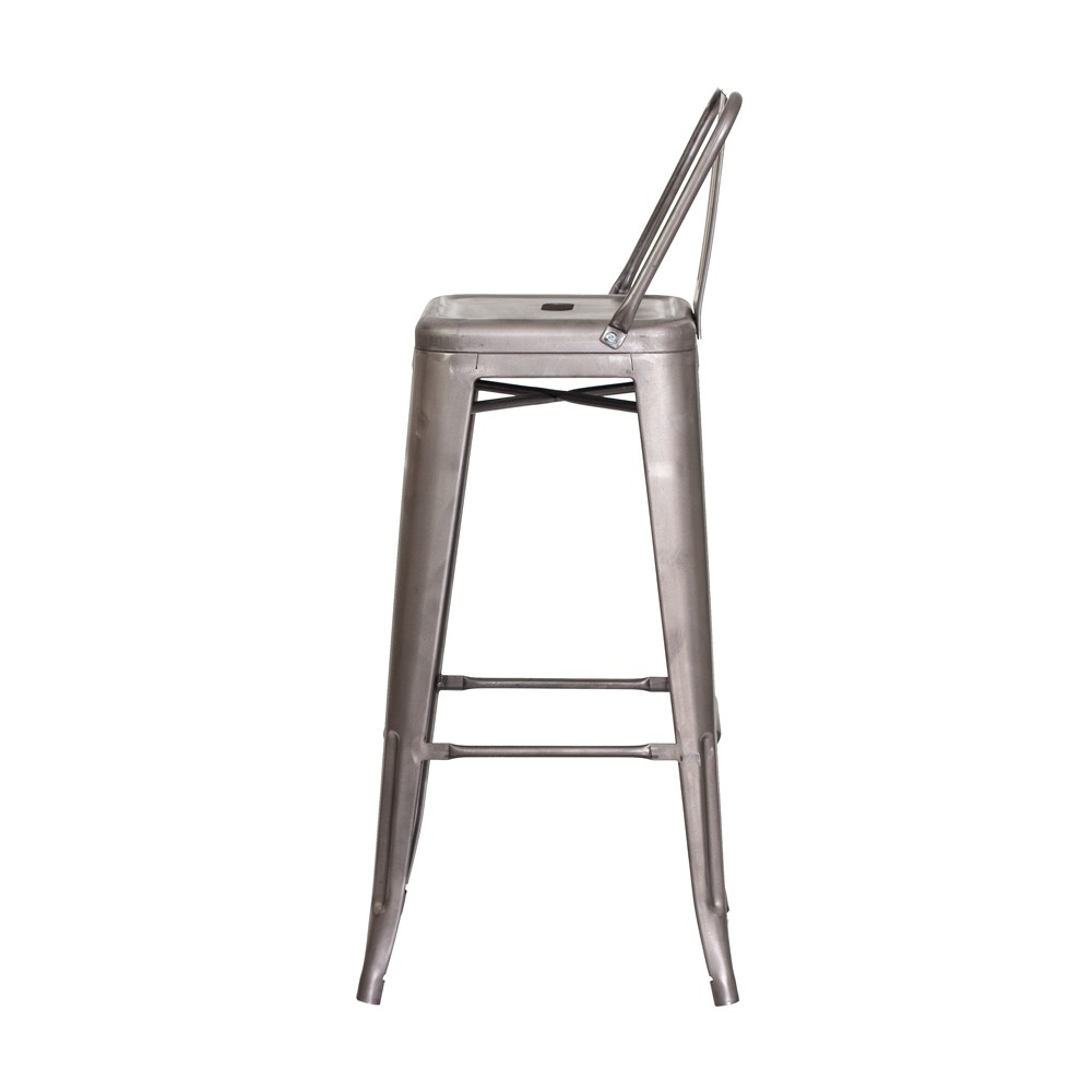 Banqueta Tolix Iron com Encosto Sem Pintura Industrial Aço