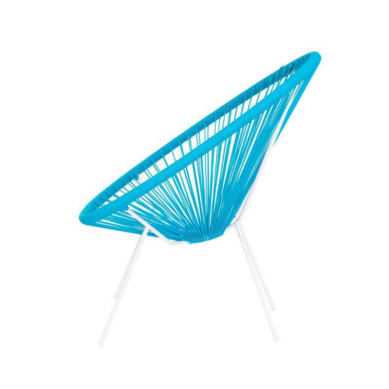 Cadeira Acapulco Oval PVC Base Ferro Pintado Azul Jardim Varanda