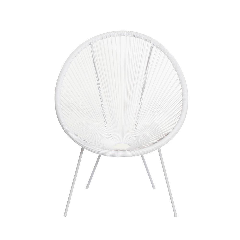 Cadeira Acapulco Oval PVC Base Ferro Pintado Branca