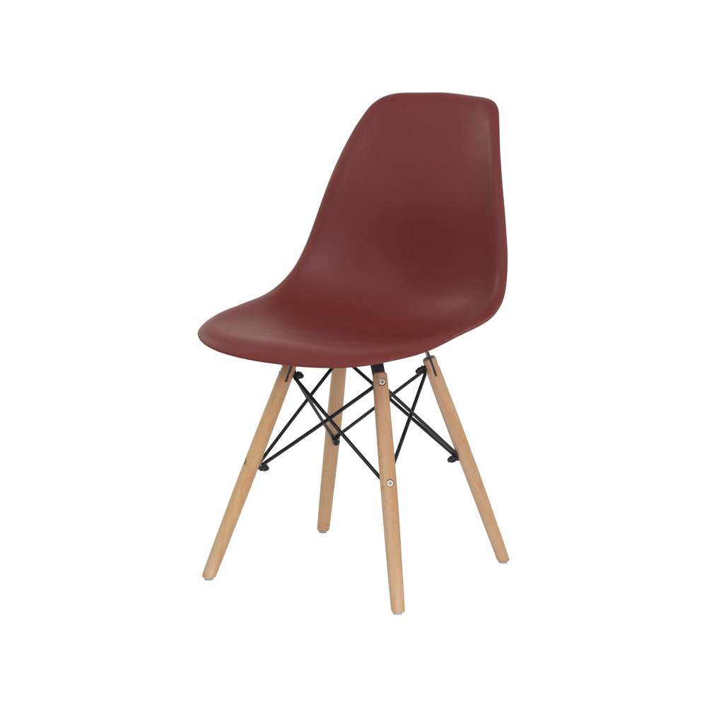 Cadeira Charles Eames Eiffel Terracota Base Madeira Sala Cozinha Jantar